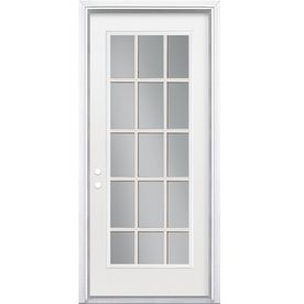 48 In X 80 In Clear Glass 15 Lite Right Hand Classic Primed Fiberglass Smooth Prehung Front Door With One Sidelit French Doors Interior French Doors Mmi Door