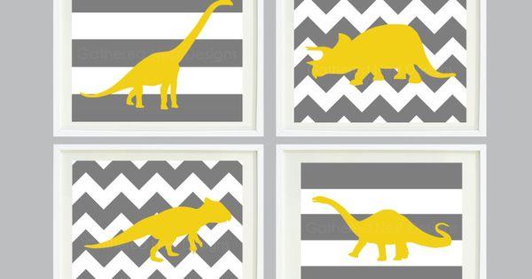 Chevron & Striped Dinosaur nursery prints