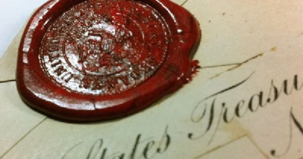 mid to late 1800s wax seal on envelope