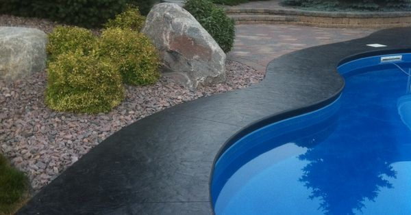 Stamped Concrete Border Around An Inground Pool My Home