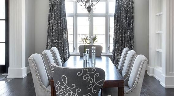 Awesome Gray Dining Room With Gray Medallion Curtains