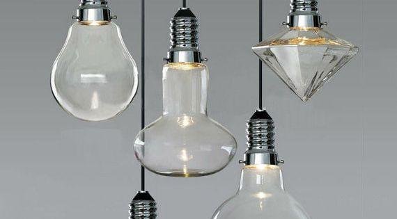 CANCRI Large LED Hanging Pendant Light Bulb by GlassandbrassCo, $120.00