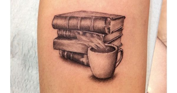 Books and coffee tattoo by legion avegno of fallen for Fallen sparrow tattoo