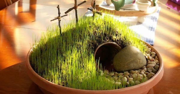 Wide shallow planter dish Potting soil Grass Seed Sm pebbles 1 Lg