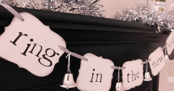 """new years party decorations """"ring in the new year"""" sign banner garland."""