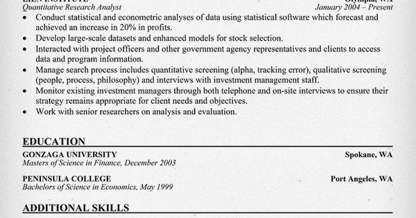 quantitative research analyst resume samples across all industries