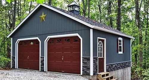 Build Site Garage 2 Car 2 Story Raised Roof Garage With Cupola And Weathervane Prefab Garages Shop Building Plans Home Depot Shed