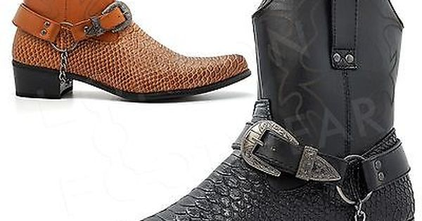 Details about MENS SNAKE SKIN WESTERN COWBOY BOOTS ANKLE ZIP