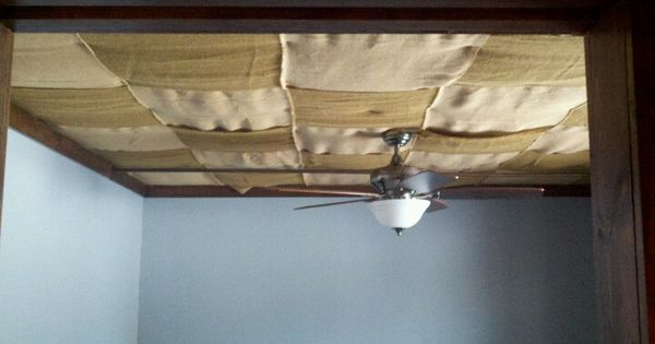 Burlap Ceiling In Our Basement Bedroom Post Fast