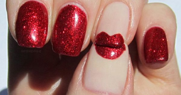 Ruby red nail polish with red lips! Cute for Valentines day or