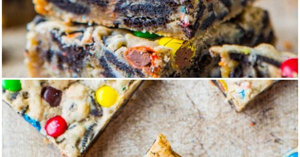 Loaded M&M Oreo Cookie Bars - Stuffed to the max with M&Ms