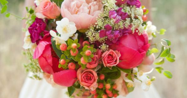 Peonies, roses, wildflowers berries - the perfect Spring wedding bouquet! I don't