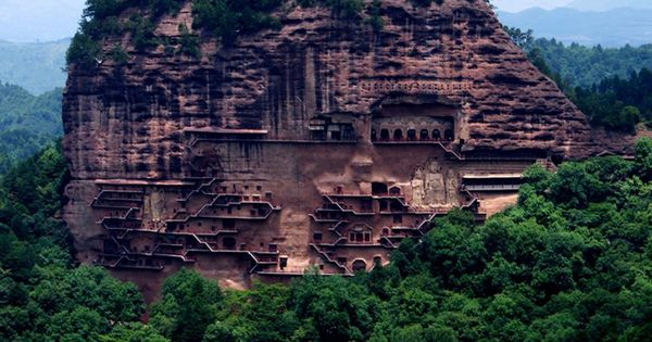 Maijishan caves , close to the city of Tianshui , in the