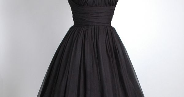 Bridesmaid dress? HEMLOCK VINTAGE CLOTHING : 1950's Black Gathered Chiffon Party Dress