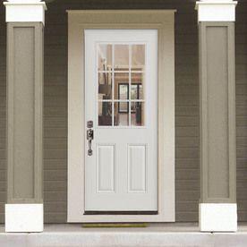 Masonite 2 Panel Insulating Core 9 Lite Right Hand Inswing Steel Primed Prehung Entry Door Common 36 In X 80 In Actual 37 5 In X 81 5 In Lowes Com Steel Entry Doors Entry Doors Primed Doors