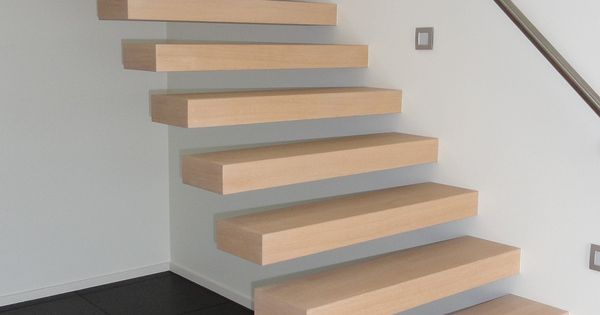 Zwevende trap treden in franse eik trappen pinterest - Redo houten trap ...