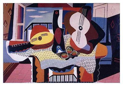 CUBISM GUITAR READY TO HANG MODERN DESIGN CANVAS PRINT PICTURE POSTER