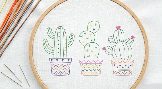Cactus succulent prickly pear digital hand embroidery