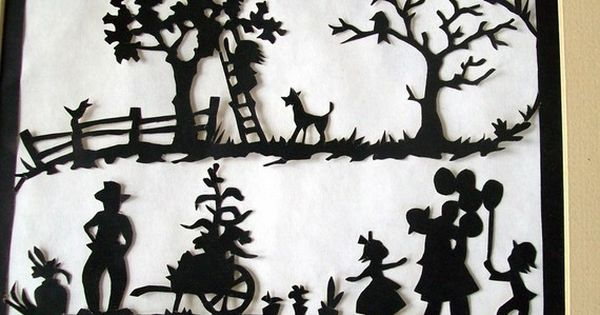 Vintage Paper Silhouette Victorian Family Scene By
