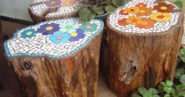 Tree Stump Mosaic tables or stools.