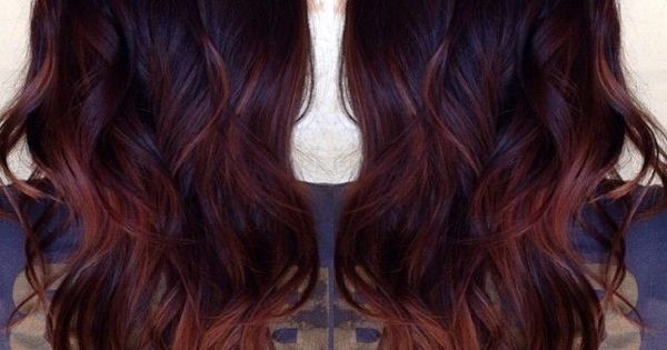 dark red and balayage highlights and teasing ombr mixed ...