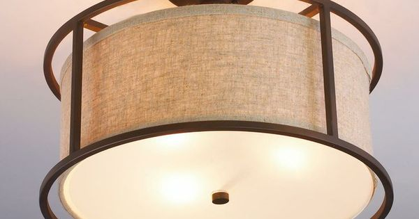 Springfield Drum Shade Semi Flush Ceiling Light Drum