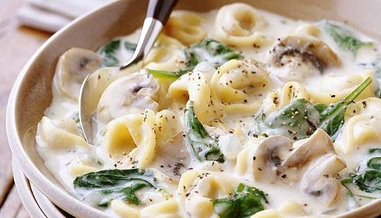 Slow Cooker Creamy Tortellini Soup-- to make prep extra easy, use pantry-ready