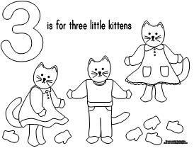 100 Day Activities Three Little Kitten Printables Nursery