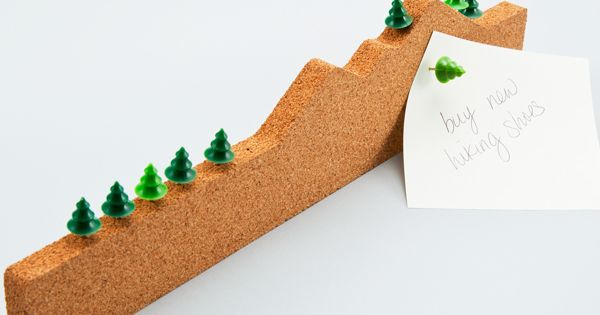 This is too clever - memo mountain with little green tree pushpins