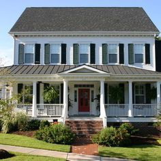 Big Farmhouse Front Porches On Plain Colonial House Red Doors