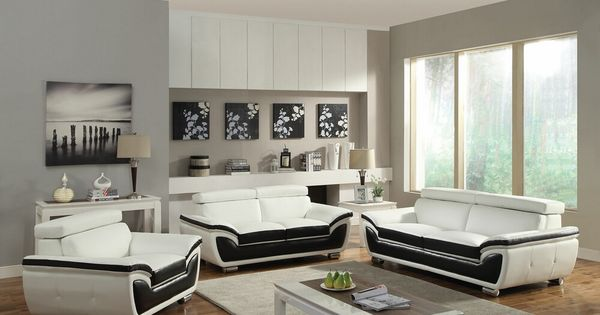 2 Pc Olina Collection Black And White Bonded Leather