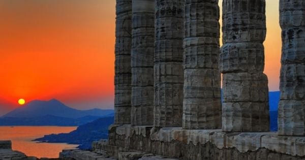the Temple of Poseidon, Cape sounion, outside Athens, Greece