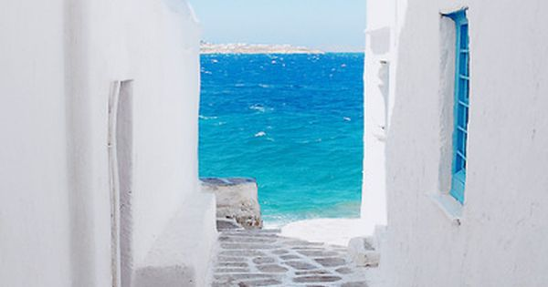 sea, sky, blue, island, aegean, mediterranean, greek, greece, european, cycladic, cyclades, window,