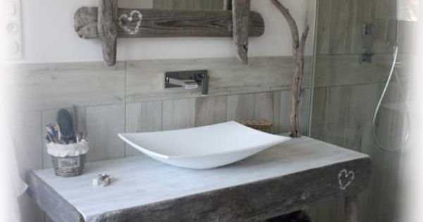 Meuble de salle de bain en bois flott natydeco sur site for Salle de bain en bois flotte
