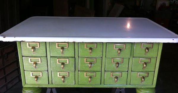 Upcycled Library Card Catalog Coffee Table Bun Feet Salvaged Porcelain Table Top And Apple