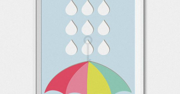 Umbrella rain drops rainbow themed nursery decor for Rainbow themed baby nursery