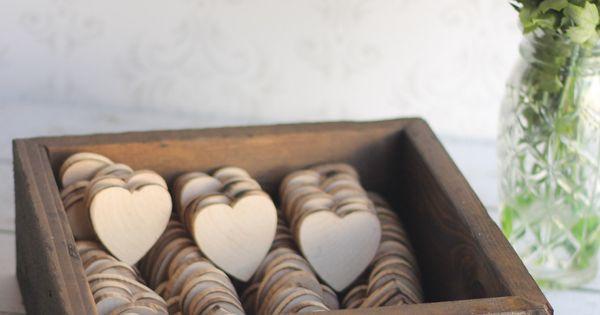Rustic Wedding Favors Wood Heart Magnets