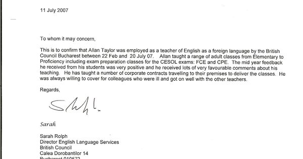 Recommendation Letter Sample For Teacher From Parent