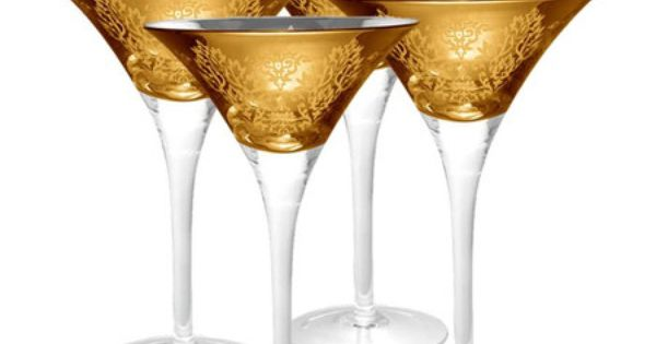 I pinned this brocade martini glass in gold set of 4 from the ring in the new year event at - Vera wang martini glasses ...