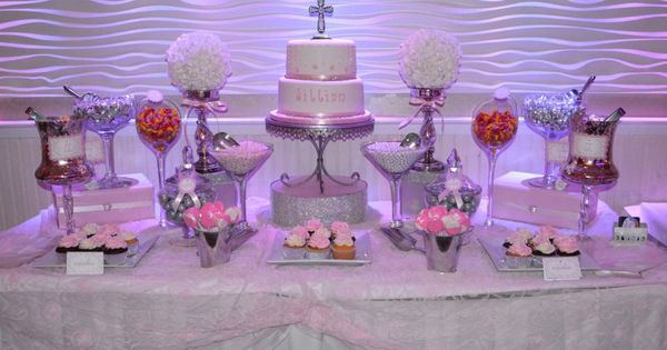 pink and white communion candy buffet table | Candy Bars ...