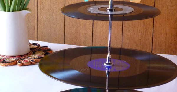 Thinking about a music-themed wedding? Consider a vinyl record cake stand!