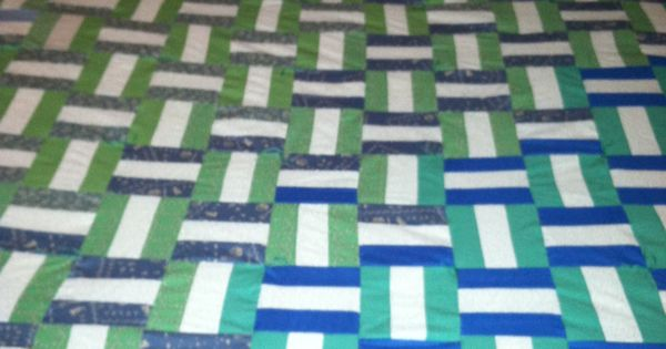 Easy Basket Weave Quilt Pattern : Basket weave pattern quilt in gradient blues and greens