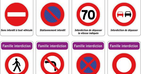 jeu des 5 familles de panneaux de signalisation routi re famille interdiction panneau de. Black Bedroom Furniture Sets. Home Design Ideas