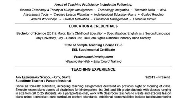 Elementary School Teaching Resume Example. I Like The Lines To Help Emphasize Each Different