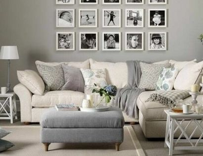 wandgestaltung wohnzimmer neutrale farben beige grau wandgestaltung mit bildern familienfotos. Black Bedroom Furniture Sets. Home Design Ideas