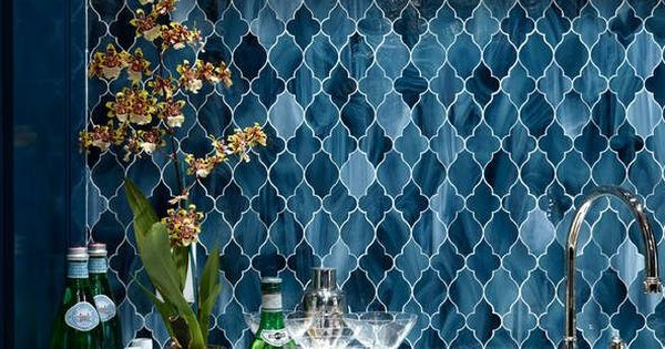 Navy Blue Arabesque Mosaic Backsplash Design By Ashley