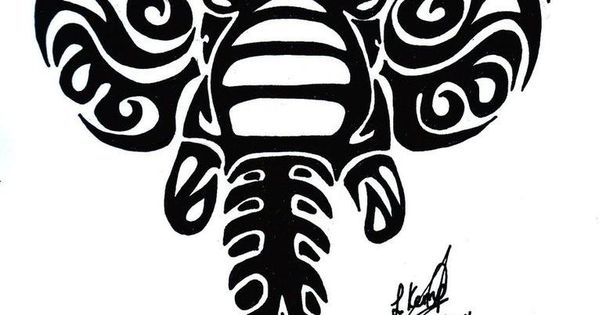 Wonderful Black Tribal Elephant Head Tattoo Design ...
