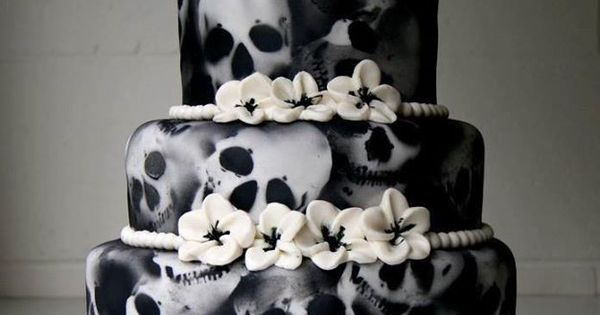 Skull Cakes (cake ideas for a Gothic wedding, Yule/Winter Solstice, or for