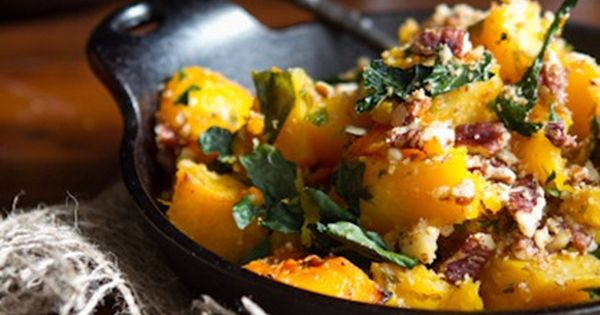 roasted butternut squash with kale and almond pecan parmesan | Paleo ...