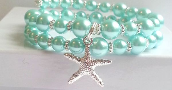Light turquoise pearl memory wire bracelet by beachseacrafts